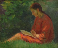 seated woman reading by frank milton armington