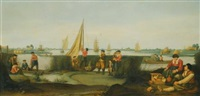 fishermen on the banks of a river estuary by arent (cabel) arentsz