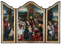 adoration of the holy family, triptych by flemish school-antwerp (16)