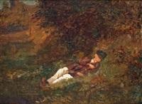 jeune homme faisant la sieste en plein air by edouard frere