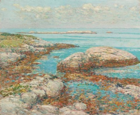 rocks at appledore morning by childe hassam