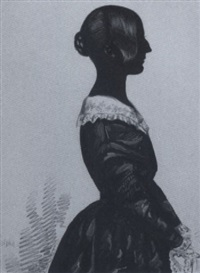 margaret and rosanna mccalmont facing each other, wearing dresses with white collars, their hair upswept in buns by edgar adolphe