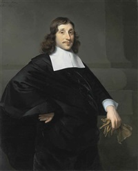 portrait of a gentleman (dirk van collen, lord of bredelar?), in a black coat with a white collar and cuffs, a pair of gloves in his left hand by isaac luttichuys