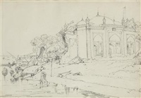 riverside temple, dacca by george chinnery