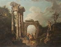 scène animée dans les ruines antiques by italian school-venetian (19)