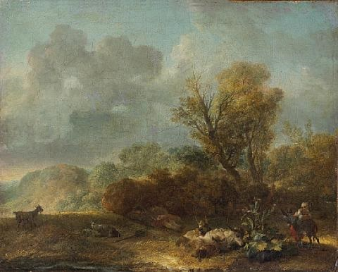 a landscape with figures and donkeys in the foreground by jean honoré fragonard
