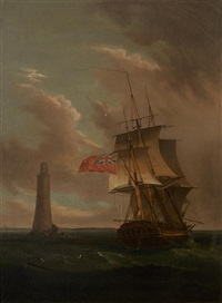 a two-decker rounding the lighthouse by thomas whitcombe
