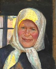 smiling skagen woman with flowery headscarf by michael peter ancher