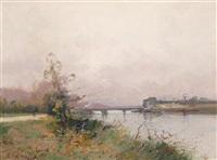 landschaft an der seine by eugène galien-laloue