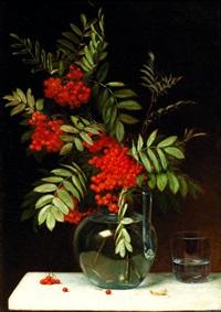 branche de groseillier dans un vase sur un entablement by emma mulvad