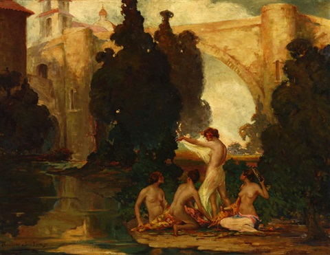 nude arcadian women dancing and playing music by oscar theodore jackman