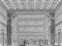 the interior of the grande sala da ballo of the doge's palace, venice, showing the doge standing amongst many other figures by alessandro sanquirico