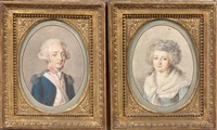 portrait d'une femme à la robe bleue et au fichu et portrait d'un officier (pair) by g. p. barbier