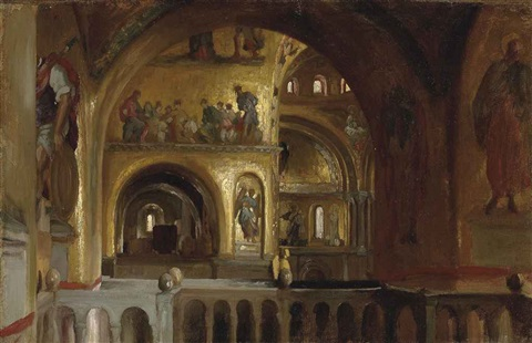 the interior of st marks basilica venice by lord frederick leighton