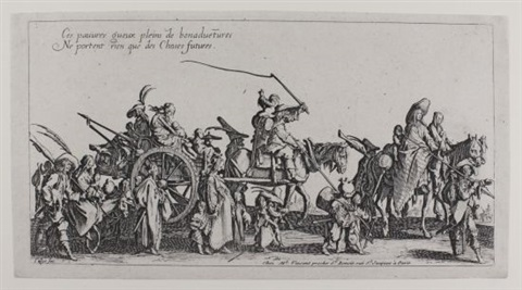 les bohémiens set of 4 an etched copy after callot 5 works by jacques callot