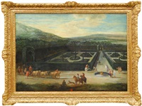 baroque palace garden with carriage drawn by six horses by flemish school-brussels (17)