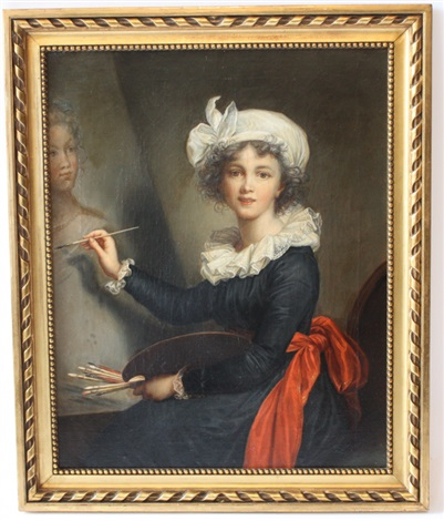 portrait dune jeune fille peignant un portrait by elisabeth louise vigée le brun