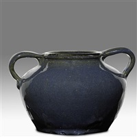 squat two-handled vessel by oscar louis bachelder