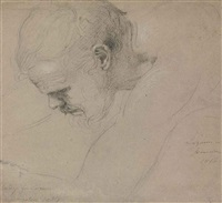 study for the head of lazarus in the entrance of christ into jerusalem by benjamin robert haydon