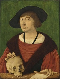 a portrait of a gentleman, bust length, in a red mantle with a skull and a letter by conrad (von creuznach) faber