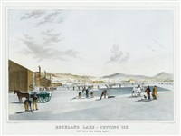 rockland lake, cutting ice, view from the north east (after john w. hill) by endicott & co. (printers)