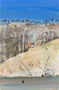 shoalhaven - hillside with bushfire by arthur merric bloomfield boyd