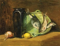 still life with fish on a platter by gerard nicolaas korthals