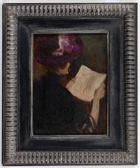 rückenansicht einer dame mit hut, eine zeichnung betrachtend by louis mark