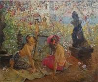 femmes de bali contemplant un tableau by adrien jean le mayeur de merprés