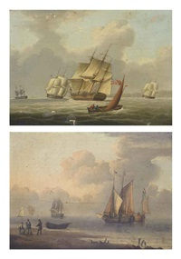 a frigate and other shipping heeling in the breeze... (+ barges and other shipping in a calm off the dutch coast, with fishermen...; pair) by william anderson