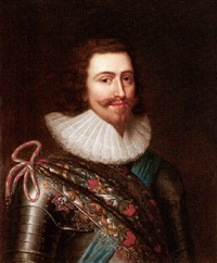 portrait of george villiers, 1st duke of buckingham wearing armour, with the order of the garter by balthazar gerbier d'ouvilly