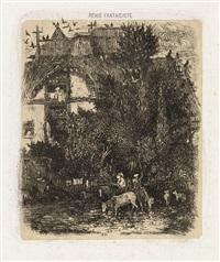 la maison à la façade courbée (+ l'armée romaine, etching onchine collé, 1856) (from revue fantaiste) by rodolphe bresdin