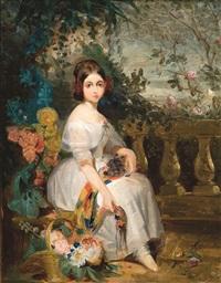 fille avec fleurs by gustave (egidius karel g.) wappers