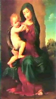 the virgin and child, a castleon a hilltop beyond by giuliano bugiardini