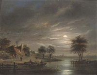 fishing by moonlight by jacobus theodorus abels