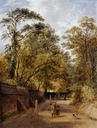 children with a dog on a woodland road by james stark