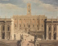 the campidoglio, rome by giacomo van (monsù studio) lint