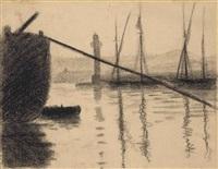 saint-tropez, la jetée vue du chantier naval by paul signac