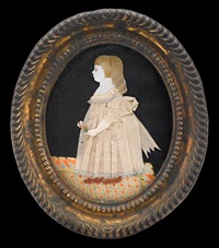 dressed miniature of a little girl standing on a patterned rug by mary way