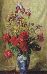 still life, iris and carnations in a chinese vase by josef jungwirth