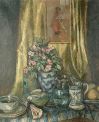 still life with flowers and lemons by clare atwood