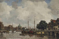 an amsterdam canal with the koepelkerk beyond by frans langeveld