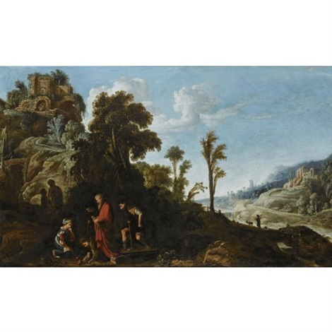 an extensive wooded landscape with a biblical scene by david teniers the elder