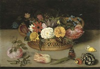 roses, tulips and other flowers in a basket with flowers, shells, and a butterfly on a ledge by ambrosius bosschaert the elder