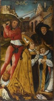 martyr de saint narcisse et de son diacre félix (+ fragment d'un saint en pied scène d'un volet de retable; verso) by german school-swabian (16)