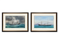 two captain's paintings (2 works) by antonio de simone