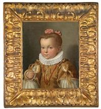 porträt eines jungen mädchens, eine lange kette aus korallenkugeln tragend, wohl aus dem hause medici by alessandro di cristofano allori