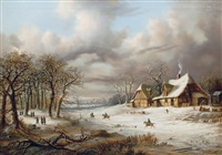 winter scene with soldiers by august achilles