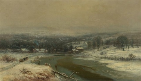 winter landscape with river by george henry durrie
