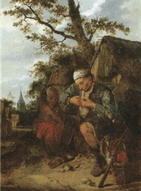 peasants seated outside the farmhouse by harmen hals